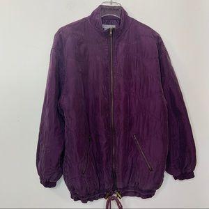 Vintage Robert Stock Purple Silk Bomber Jacket